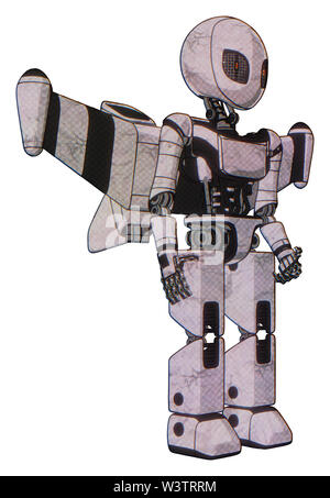 Droid containing elements: grey alien style head, metal grate eyes, light chest exoshielding, ultralight chest exosuit, stellar jet wing rocket pack,. - Stock Photo