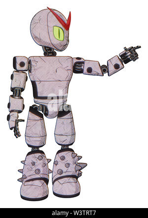 Automaton containing elements: grey alien style head, cat's eyes, light chest exoshielding, prototype exoplate chest, light leg exoshielding, spike... - Stock Photo