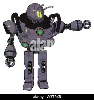 Automaton containing elements: grey alien style head, cat's eyes, bug antennas, heavy upper chest, chest green energy cores, prototype exoplate legs. - Stock Photo