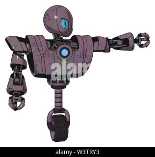 Droid containing elements: grey alien style head, blue grate eyes, heavy upper chest, heavy mech chest, blue energy fission element chest, unicycle... - Stock Photo