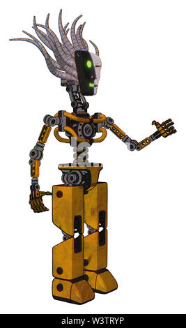 Bot containing elements: humanoid face mask, two-face black white mask, light chest exoshielding, no chest plating, prototype exoplate legs. - Stock Photo
