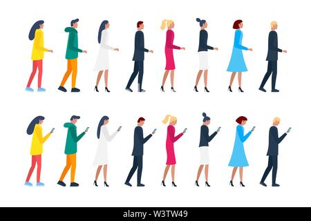 Crowd men and women walking and holding smartphones. Male and female characters group using mobile phones. Vector flat illustration - Stock Photo