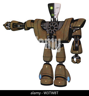 Robot containing elements: humanoid face mask, two-face black white mask, heavy upper chest, heavy mech chest, light leg exoshielding. Material: old. - Stock Photo