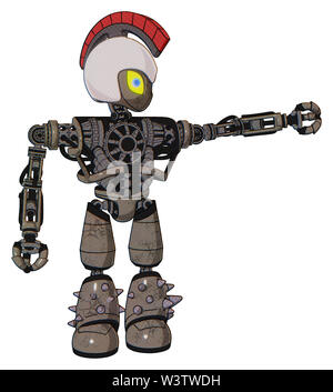 Bot containing elements: grey alien style head, yellow eyes with blue pupils, galea roman soldier ornament, helmet, heavy upper chest, no chest... - Stock Photo