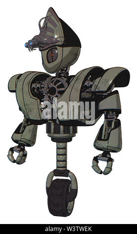 Droid containing elements: grey alien style head, metal grate eyes, alien bug creature hat, heavy upper chest, heavy mech chest, unicycle wheel. - Stock Photo