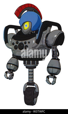 Bot containing elements: grey alien style head, yellow eyes with blue pupils, galea roman soldier ornament, blue helmet, heavy upper chest, chest... - Stock Photo