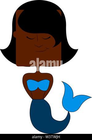 Cute black mermaid, illustration, vector on white background. - Stock Photo