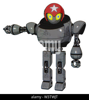 Bot containing elements: grey alien style head, yellow eyes with blue pupils, stars, red helmet, heavy upper chest, prototype exoplate legs. - Stock Photo