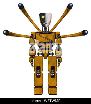 Mech containing elements: humanoid face mask, two-face black white mask, light chest exoshielding, cable sash, blue-eye cam cable tentacles,... - Stock Photo