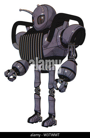 Robot containing elements: grey alien style head, metal grate eyes, bug antennas, heavy upper chest, chest vents, ultralight foot exosuit. Material:. - Stock Photo