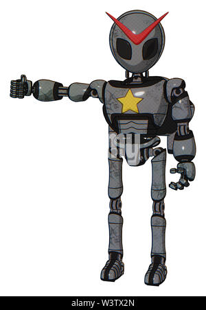 Droid containing elements: grey alien style head, black eyes, light chest exoshielding, yellow star, rocket pack, ultralight foot exosuit. Material:. - Stock Photo