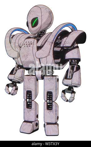Robot containing elements: grey alien style head, green demon eyes, heavy upper chest, heavy mech chest, battle mech chest, prototype exoplate legs. - Stock Photo
