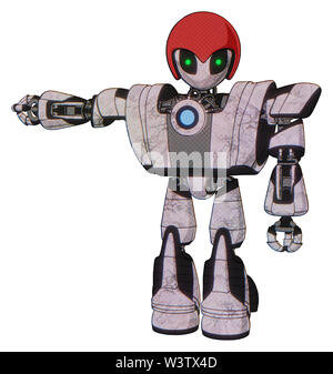 Robot containing elements: grey alien style head, green inset eyes, red helmet, heavy upper chest, heavy mech chest, blue energy fission element... - Stock Photo
