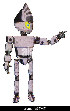 Bot containing elements: grey alien style head, yellow eyes with blue pupils, light chest exoshielding, prototype exoplate chest, ultralight foot... - Stock Photo