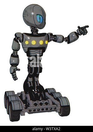 Robot containing elements: grey alien style head, blue grate eyes, light chest exoshielding, yellow chest lights, six-wheeler base. Material: patent. - Stock Photo