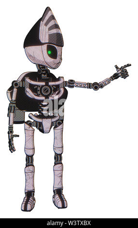 Bot containing elements: grey alien style head, green inset eyes, light chest exoshielding, rocket pack, no chest plating, ultralight foot exosuit. - Stock Photo