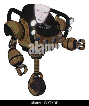 Robot containing elements: humanoid face mask, heavy upper chest, chest energy sockets, shoulder headlights, unicycle wheel. Material: old copper. - Stock Photo