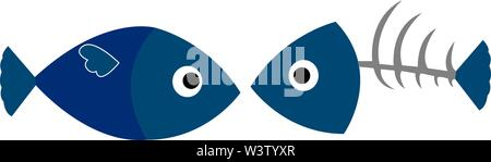 Fish and fishbone, illustration, vector on white background. - Stock Photo
