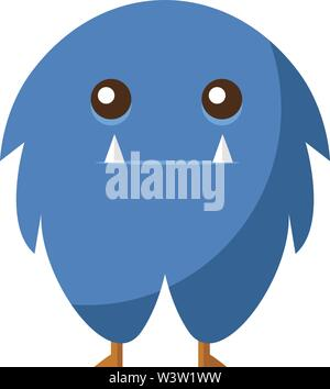 Sad blue monster, illustration, vector on white background - Stock Photo