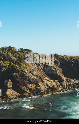 Beautiful beach scene on a clear summer morning, Port Macquarie, New South Wales. - Stock Photo