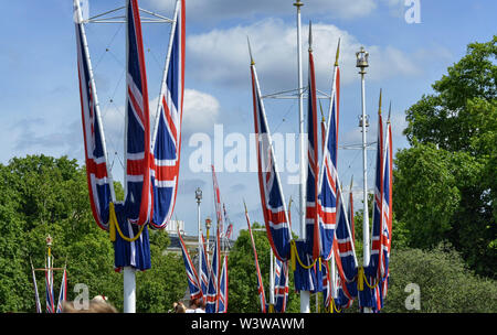 London, United Kingdom, June 2018. The flags of the United Kingdom in front of buckingham palace. A symbol that does not go unnoticed by people - Stock Photo