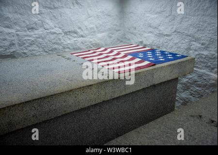 John Adams crypt in the First Congregational Church in Quincy, MA - Stock Photo