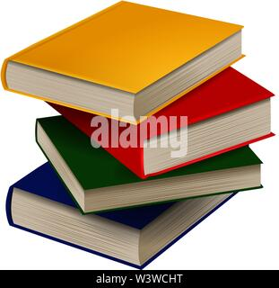 stack of books realistic illustration vector - Stock Photo