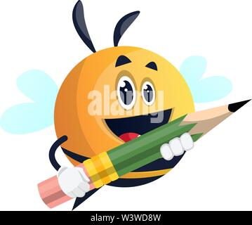 Bee holding a pen, illustration, vector on white background. - Stock Photo