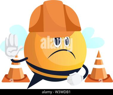 Bee with helmet on street, illustration, vector on white background. - Stock Photo