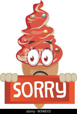 Ice cream with sorry sign, illustration, vector on white background. - Stock Photo