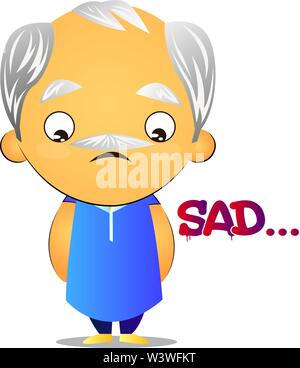 Old man feeling sad, illustration, vector on white background. - Stock Photo