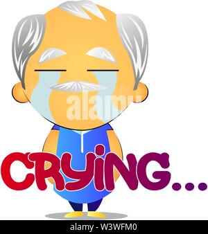 Old man crying, illustration, vector on white background. - Stock Photo