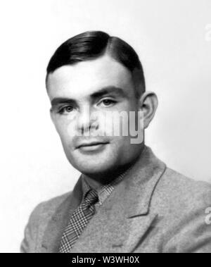 Alan Mathison Turing (1912-1954), a British mathematician, is widely considered to be the father of theoretical computer science and artificial intelligence. During World War II he worked for the Government Code and Cypher School at Bletchley Park, Britain's codebreaking center that produced Ultra intelligence. For a while Turing led Hut 8, the section responsible for German naval cryptanalysis. Turing played a pivotal role in cracking intercepted coded messages that helped enable the Allies to defeat the Nazis. (Photo circa 1930s) - Stock Photo