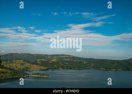 Distant view of Umium Lake on a clear day near Shillong,Meghalaya,India Stock Photo