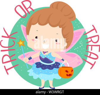 Illustration of a Kid Girl Wearing Fairy Costume and Carrying a Pumpkin Basket with Trick or Treat Lettering - Stock Photo