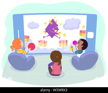 Illustration of Stickman Kids Playing Mobile Arcade Game - Stock Photo