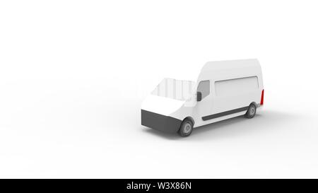 3d rendering of a utility van isolated in white studio background - Stock Photo