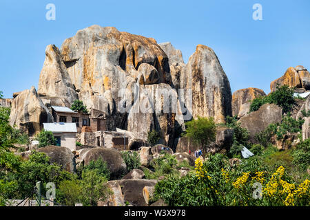 typical rock formations in the suburbs of the city of Mwanza near Lake Victoria, Tanzania, Africa - Stock Photo
