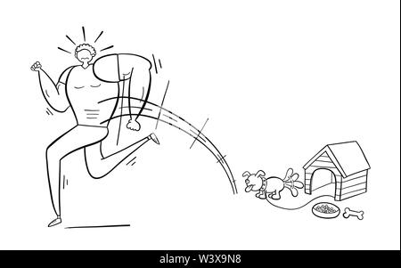 Muscular man scared of small dog and running away, hand-drawn vector illustration. Black outlines and white. - Stock Photo