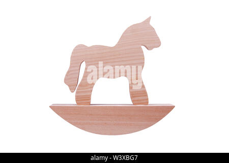 Simple wooden rocking horse toy, horse figure on a stand isolated on white background, trojan horse or simplified traditional children toys concept - Stock Photo