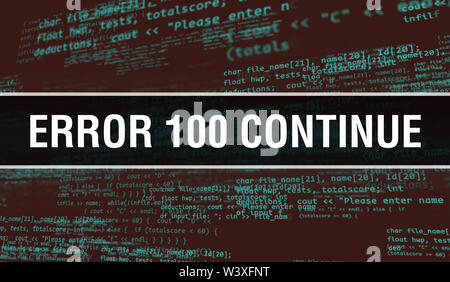 Error 100Continue text written on Programming code abstract technology background of software developer and Computer script. Error 100Continue conce - Stock Photo