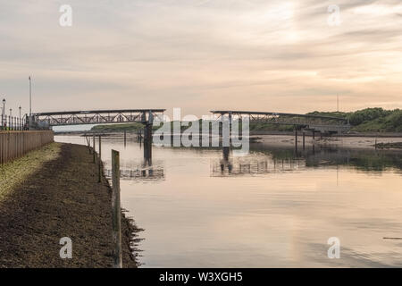 Irvine Harbour North Ayrshire Scotland and the old Science Museum Bridge on a clam summers evening in Scotland - Stock Photo