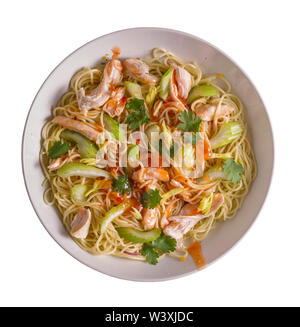 Udon with Chicken and Peanut Garlic Sauce without adding sesame in a white bowl isolated on white background. - Stock Photo