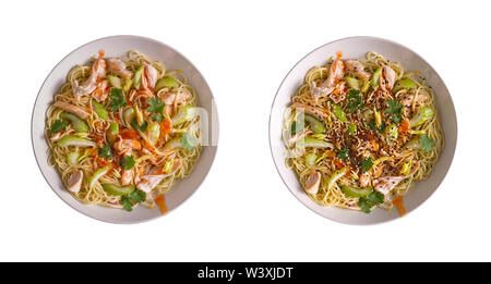 Udon with Chicken and Peanut Garlic Sauce in two white bowls with sesame and without adding isolated on a white background. Two options for filing. - Stock Photo