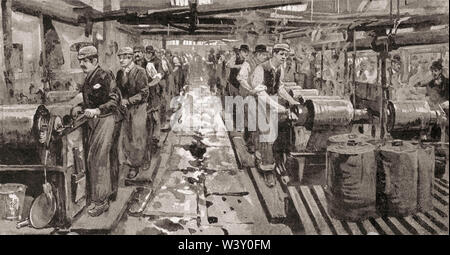 Dye house in Messrs Worrall's works mill factory workshop, cotton industry, Manchester, England, UK, 19th century - Stock Photo