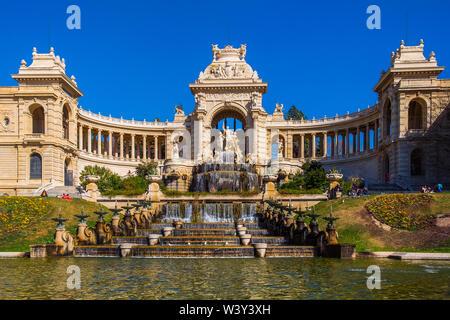 Marseilles, France, March 2019, view of the Palais Longchamp. It houses the 'Musée des beaux-arts and Muséum d'histoire naturelle' - Stock Photo