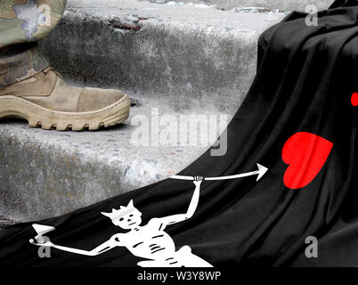 Military concept on the background of the flag of Blackbeard Pirate - Stock Photo