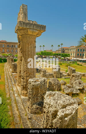 Temple of Apollo at Syracuse Old Town, Sicily, Italy. - Stock Photo