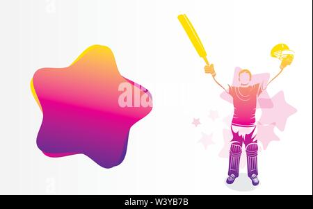 cricket player hitting big shot poster design, write your comment or advertise text place on big ball - Stock Photo
