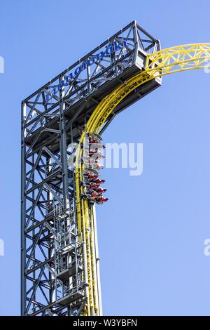 Helsinki, Finland - June 23. 2019 - People rising straight up in the Linnanmaki Amusement Parks roller coaster Ukko - Stock Photo